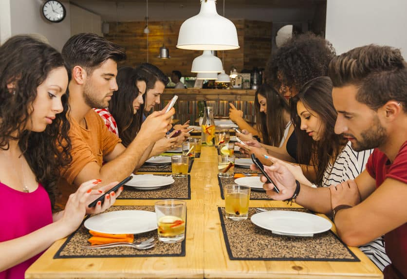 Phone-addicted friends