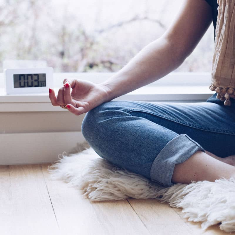 Meditation timer on windowsill